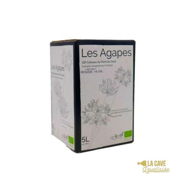 BIB Les Agapes Rouge 3L & 5L Rhône, Vins Rouges, Vins Biologiques & Naturels, Bag-in-Box, Vignerons d'Estézargues, bag, bag in box, bib, box, cubi