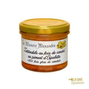 Tartinable au Foie de Canard au Piment d'Espelette - 25% Foie Gras - 90gr Manoir Alexandre, Produits Salés, aperitif, canard, colis gourmand, foie gras, gibier, gourmet, manoir alexandre, pâté, porc, producteur, produit de qualité, rillettes, tartinable, terrine, verrines