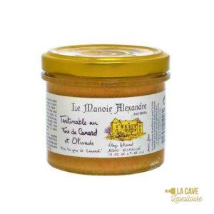 Tartinable au Foie de Canard et Olivade - 25% Foie Gras - 90gr Manoir Alexandre, Produits Salés, aperitif, canard, colis gourmand, foie gras, gibier, gourmet, manoir alexandre, pâté, porc, producteur, produit de qualité, rillettes, tartinable, terrine, verrines