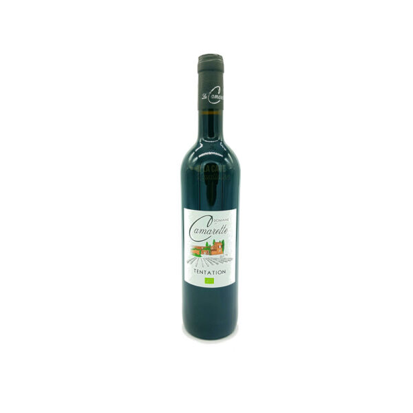 Syrah Rouge - Tentation - IGP Méditerranée Rhône, Vins Rouges, Vins Biologiques & Naturels, Domaine de la Camarette, costieres de nimes, cotes du rhone, domaine de la camarette, levures indigènes, vallée du rhône, ventoux, vignerons d'estezargues, vin agneau, vin barbecue, vin biologique, vin blanc, vin côte de boeuf, vin gibier, vin grillades, vin naturel, vin non filtré, vin rosé, vin rouge, vin sans intrants, vin sans sulfites