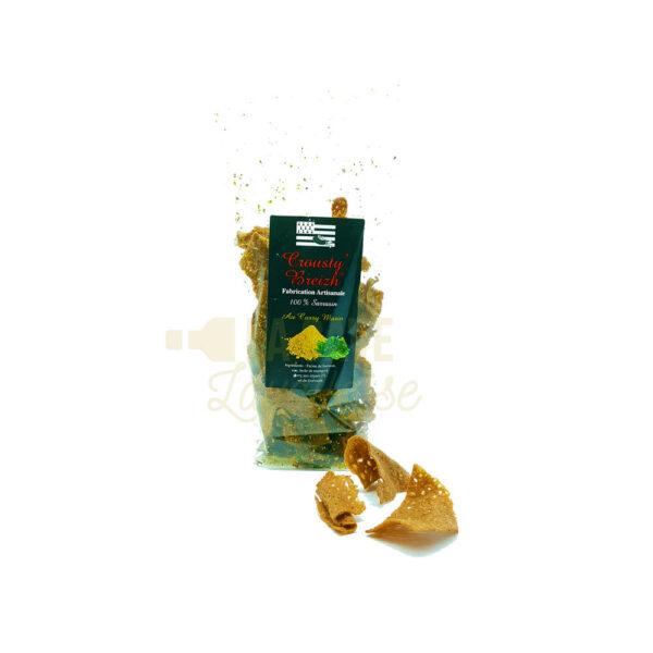 Chips de Galette au Curry - Crousty'Breizh - 100gr Idées Cadeaux Fête des Pères, Produits Salés